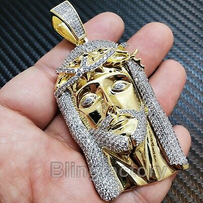 Hip Hop Iced Out Gold Plated Brass Micro Pave Bling Jesus Head Pendant Sbch1130G