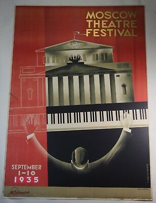 Original Vintage Art Deco 1935 Moscow Theatre Festival Lithograph Poster Zhukov