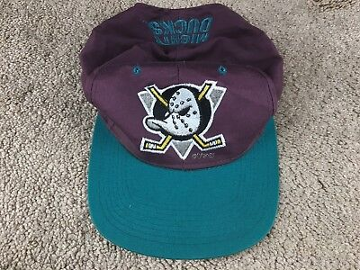5b147824794eb Vintage Anaheim Mighty Ducks Hat Snapback Cap Hockey Purple Old Logo NHL  jersey