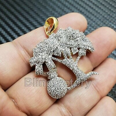 Hip Hop Iced Out Gold Plated Brass Bling Money Tree Charm Pendant Sbch1241G