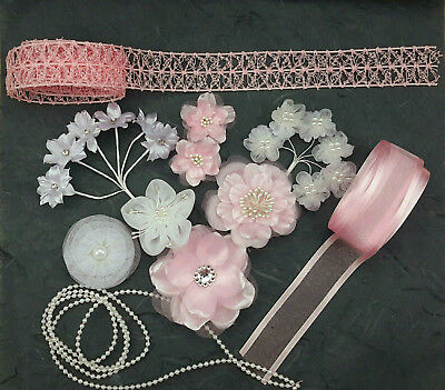 18 Pale Pink & White Fabric Flowers plus 3 Metres Matching Ribbon and Pearl Trim