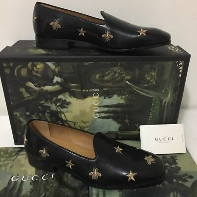 9e9d6b05ad9a NEW!! $830 MEN'S Sz 7 13 Gucci Bee Star Gold Embroidered Leather ...