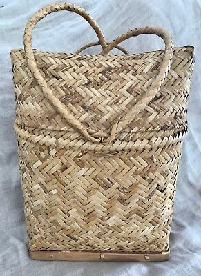 Decorative Cane Basket, Backpack-Style, Indonesia Tribal Storage