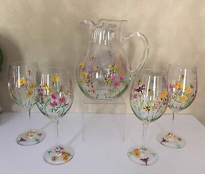 Hand Painted Floral Wine Glasses Coordinating Pitcher 5 Piece Set