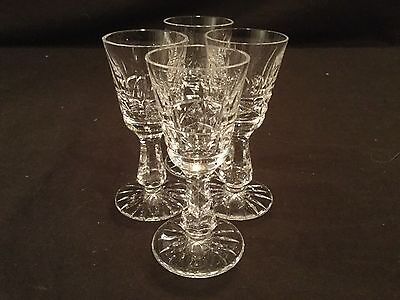 Set Of 4 Waterford Crystal Cordial Glasses In The Kylemore Pattern