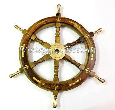 "24"" Antique Nautical Wooden Ship Steering Wheel Decor Brass Handle Wall Boat"