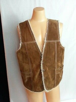 VTG 70s PAULIZ  Western Brown Suede Leather Vest Faux Shearing Hippy USA 46