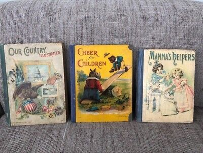 Rare Antique (late 1800's - early 1900's) Lot of 3 Illustrated Children Books