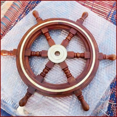 Nautical Boat Ship Wheel Brown Wooden Steering Wheel Wall Decor 18 Inches