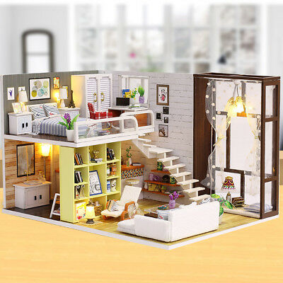 Cute 3D DIY Mini Wooden Doll House with Music Box Dust Cover LED Lights Gift Set