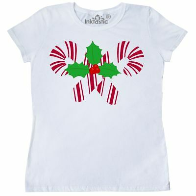 114fb02d4 Inktastic Candy Canes And Holly Christmas Women's T-Shirt Holiday Cute  Clothing