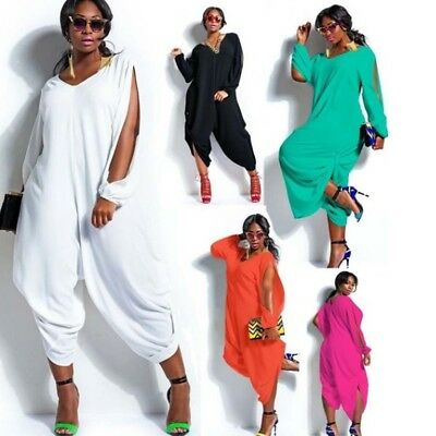 be36e3efc68 Women Plus Size Loose Solid V Neck Long Sleeve Hollow Out Jumpsuit Playsuit  US