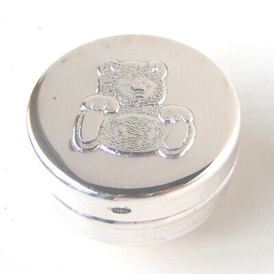 Hallmarked Silver Teddy Bear Box.   Sterling Silver Tooth Fairy Christening Gift