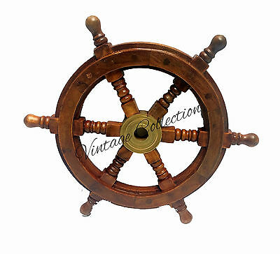 Antique Wooden Ship Steering Wheel ~ Pirate Decor Wood Brass ~ Finish Wall Boat