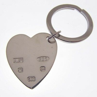 Silver Heart Keyring.  Feature Hallmarked Silver Heart Valentine Key Ring