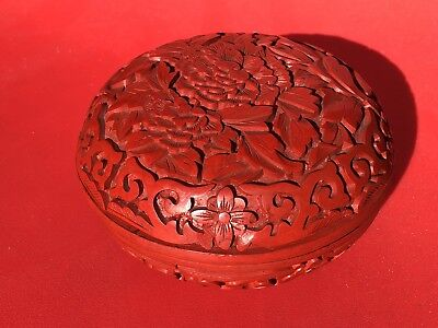 FINE Vintage CHINESE CARVED RED CINNABAR LACQUER FLORAL ROUND INK BOX