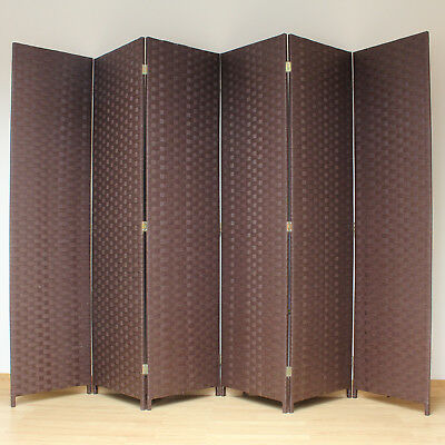 Brown 6 Panel Solid Style Wicker Room Divider Hand Made Privacy Screen/Separator