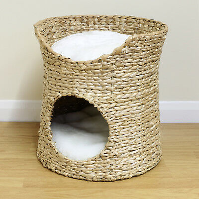 Double Cat/Kitten/Puppy Bed Natural Woven Seagrass Twin Basket/Pod/Igloo/Cave