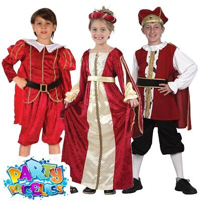 Kids Tudor Prince Princess Costume King Henry III Outfit Girls Boys Fancy Dress