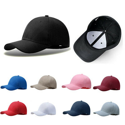 Plain Baseball Cap Solid Color Blank Curved Visor Hat Adjustable Army Mens