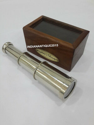 Nautical Brass Nikil Telescope 6 Inch Chrome Finish With Wooden Box