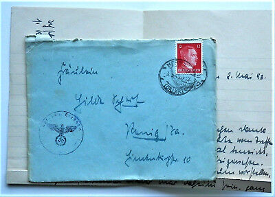 1943 WW2 REAL GERMAN 3rd REICH A. HITLER  ERA COVER WITH LETTER RARE NICE/43