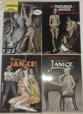 FULL SET Adult Erotica Graphic Novels The Troubles of Janice 1-4 Erich von Gotha