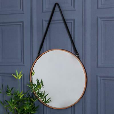 Copper Rimmed Wall Hanging Mirror Metal Rustic Modern Industrial Hallway Kitchen