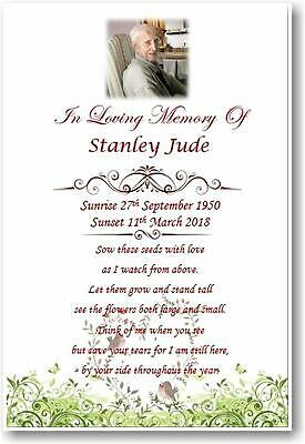 10 x Personalised A6 Funeral, Memorial, Remembrance, Keepsake cards & Seeds M4