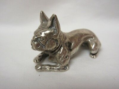 Antique Tiffany Studios Bronze French Bulldog Paperweight – Rare Silver Finish