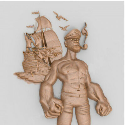 CNC 3D model in STL format ArtCAM (297 Popeye the Sailor)