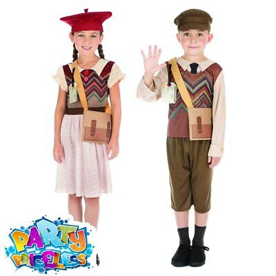 Kids Evacuee School Girl Boy Wartime Costume Childs Fancy Dress Outfit Book Day
