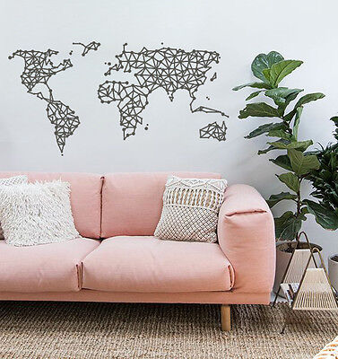 GEOMETRIC WORLD MAP Vinyl Wall Decal Sticker Interior Lines Stylish Bedroom