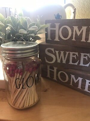 """NEW Rae Dunn """"GLOW"""" Pink Tipped Long Matchsticks in Glass Jar (Large Letter Line"""