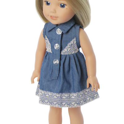 """Doll Clothes 14.5"""" Dress Denim Lace For American Girl Wellie Wishers Dolls"""