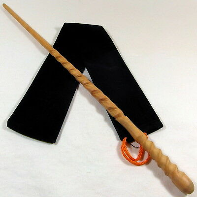 "16"" Chang Hand Carved Mahoe Wood Magic Wand Witch Wizard Wicca w/Free Velvet Bag"