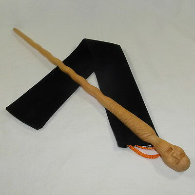"16"" Hand Carved Mahogany Wood Mummy Magic Wand Witch Wizard Cosplay w/Velvet Bag"