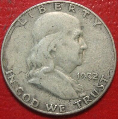1952-S Franklin Half Dollar , Circulated , 90% Silver US Coin