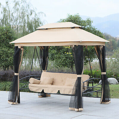 Outsunny 3 Seater Swing Hammock Garden Chair Bench Day Bed Canopy Gazebo Seat