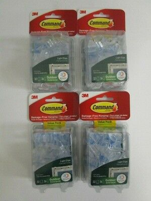 128 Command 3M Damage-Free Hanging Outdoor Light Clips Clear - Sealed - Nt 4172
