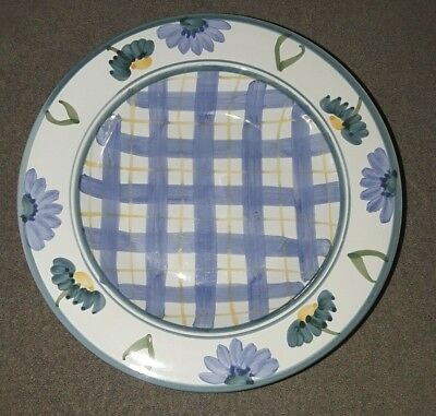 4 Caleca Arioso Blue Yellow Plaid Green Flowers Large Rimmed Soup Pasta Bowls