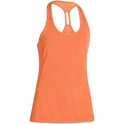 Under Armour Fly-By Womens Ladies Running Fitness Tank Vest Singlet Orange