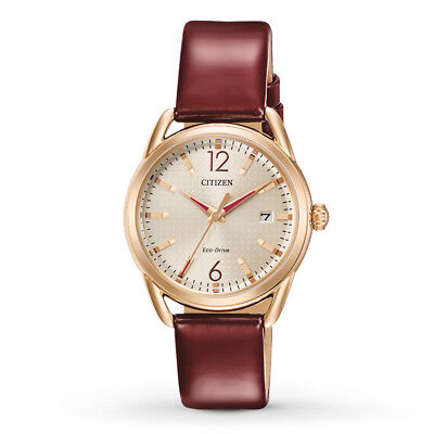 Citizen Eco-Drive LTR Women's Champagne Dial Burgundy 34mm Watch FE6083-05P