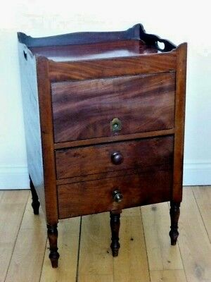 ANTIQUE GEORGIAN TRAY TOP BEDSIDE CABINET MAHOGANY c19th ENGLISH / IRISH
