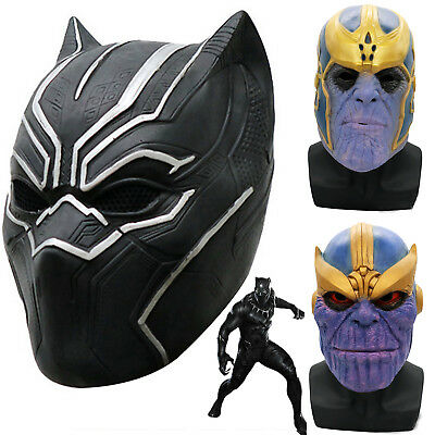 Avengers Infinity War Black Panther Thanos Latex Mask Kids Cosplay  Prop Costume