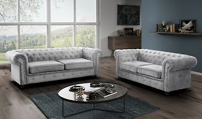 Chesterfield Sofa Infinity Fabric, 3+2 Seater, Armchair- Grey , Silver