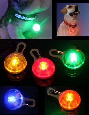 LED Safety Clip On Light w/Battery, Flashing/Solid, Night Pendant Dog Cat Pet