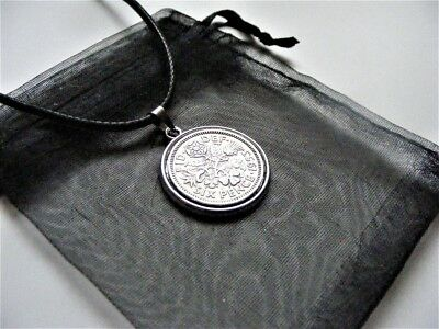Elizabeth II Lucky Charm Sixpence Necklace With Gift Bag 1953 - 1967 Choose Date