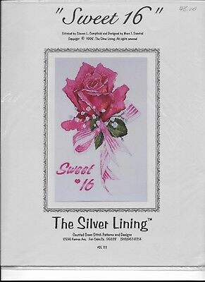 Lot of 6 Counted Cross Stitch FLORAL Patterns by The Silver Lining (001)