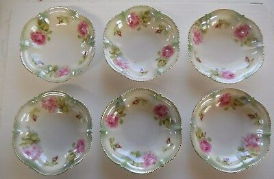 RS Prussia-Germany China - Set of 6 fruit/berry bowls Green with Rose pattern